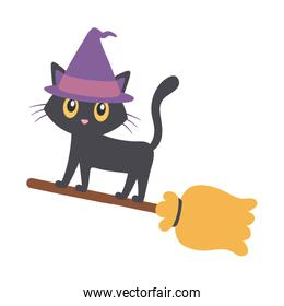 flying cat with hat in broom  trick or treat, happy halloween