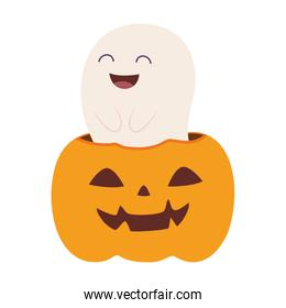 smiling ghost and pumpkin, happy halloween