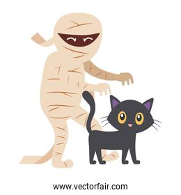 mummy character with cat trick or treat, happy halloween