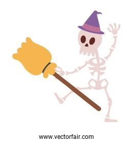 skeleton character with hat and broom trick or treat, happy halloween