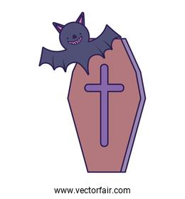coffin with cross and bat trick or treat, happy halloween