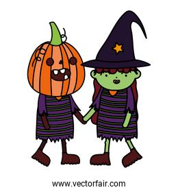 green girl witch and pumpkin costume trick or treat happy halloween