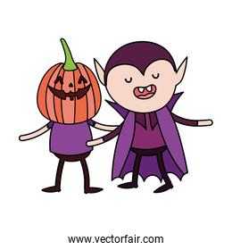 kids with pumpkin and dracula costume trick or treat happy halloween