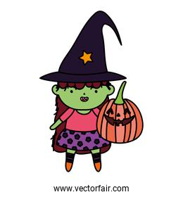 green girl witch costume with pumpkin over white