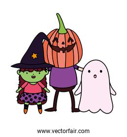 green girl witch boys pumpkin and ghost costume trick or treat happy halloween