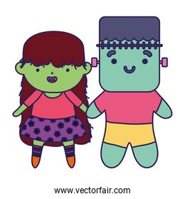boy and girl witch frankenstein costume trick or treat, happy halloween
