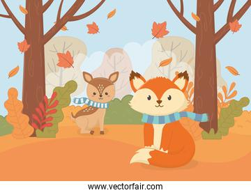 cute fox and deer with scarf forest foliage hello autumn