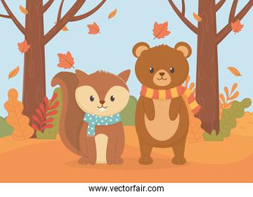 cute bear and squirrel with scarf foliage hello autumn