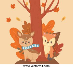 cute fox and deer tree leaves foliage hello autumn