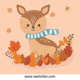 cute deer with scarf on leaves foliage hello autumn