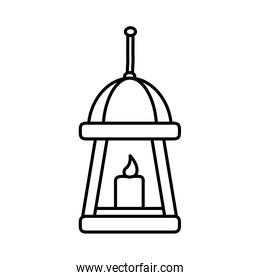 hanging lamp candle light icon line style