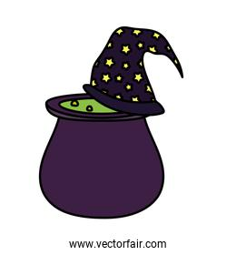 cauldron with witch hat trick or treat - happy halloween