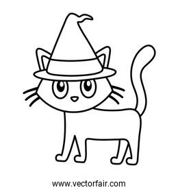 cat with witch hat trick or treat - happy halloween line style