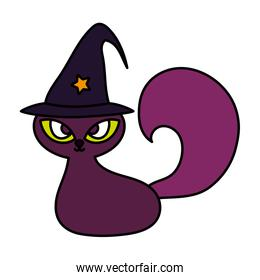black cat with hat trick or treat - happy halloween