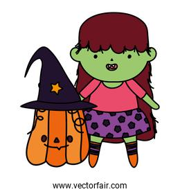 girl witch costume and pumpkin trick or treat - happy halloween