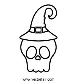 scary skull with hat trick or treat, happy halloween line image