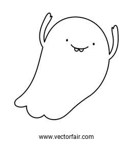 smile ghost hands up trick or treat, happy halloween line image