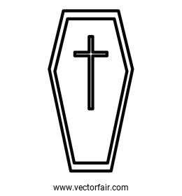coffin with cross trick or treat, happy halloween line image
