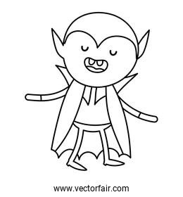 boy dracula costume with cape trick or treat, happy halloween line image