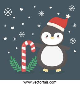 penguin with hat and cany cane celebration merry christmas poster