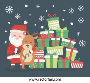 santa and reindeer with stack gifts celebration merry christmas poster