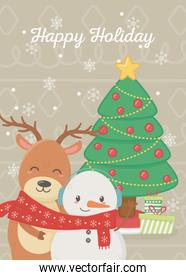 snowman and reindeer with tree gifts celebration merry christmas poster