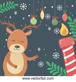 reindeer balls candle leaves celebration merry christmas poster