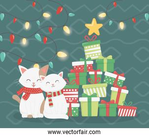 cats with scarf and stacked gifts star decoration celebration merry christmas poster