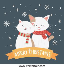 white cats with scarf snowflakes celebration merry christmas poster