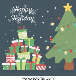 pine tree lights and many gifts celebration happy holiday poster