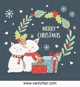 cats gift boxes wreath celebration merry christmas poster
