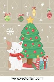cat with tree gifts and balls celebration merry christmas poster