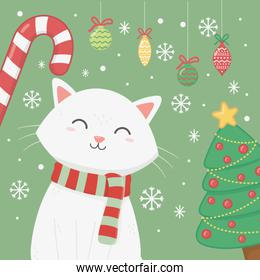 white cat with scarf candy cane and tree celebration merry christmas poster