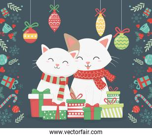 cute cats with presents and hanging balls celebration merry christmas poster