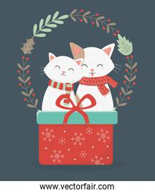 cute cats with red gift wreath decoration celebration merry christmas poster
