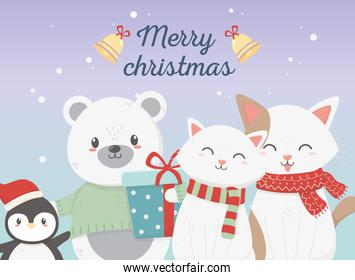 cute bear cats and penguin with gift celebration merry christmas poster