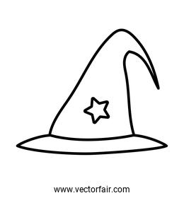 witch hat with star trick or treat happy halloweenline design