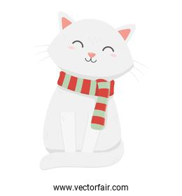 white cat with scarf celebration merry christmas