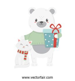polar bear and cat with wrapped gift celebration merry christmas