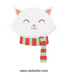 cute cat face with scarf celebration merry christmas