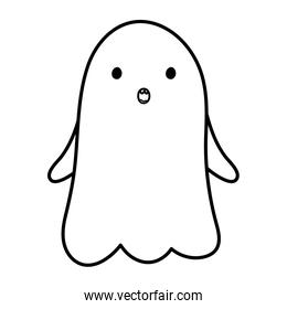 scared ghost character trick or treat happy halloweenline design
