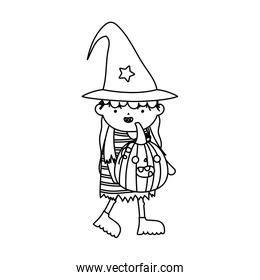 girl witch costume with pumpkin trick or treat happy halloweenline design