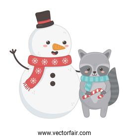 snowman and raccoon with scarf and candy cane celebration merry christmas