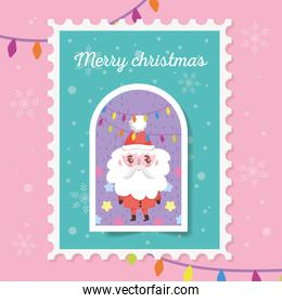 santa with lights star snowflakes merry christmas stamp