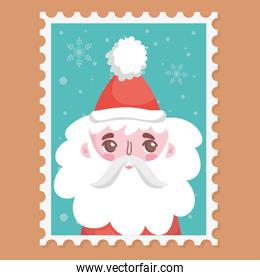 santa wearing hat with pompon merry christmas stamp