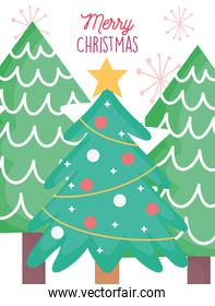 pine tree balls star decoration merry christmas card
