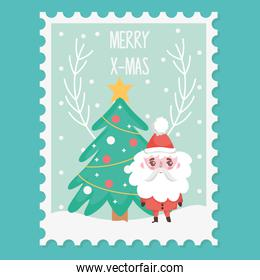 santa tree star balls snow branch merry christmas stamp