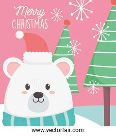 polar bear with hat scarf and trees merry christmas card