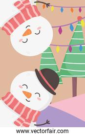 snowmen lights and trees merry christmas card