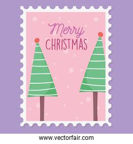 striped trees with balls snow merry christmas stamp
